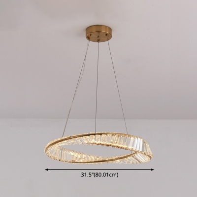 Clear K9 Crystal Chandelier Contemporary Brass LED Pendant Lighting Fixture for Bedroom
