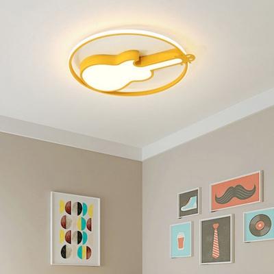 Kids Bedroom LED Metal Flushmount Fixture Cartoon Guitar Form Music Theme 1-Light Ceiling Light