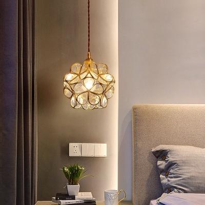 Flower Glass Suspension Light Rural 1 Bulb 9 Inchs Wide Restaurant Pendant Lamp