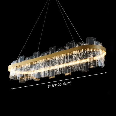 Ultra Modern LED Crystal Ring Pendant LED Ambient Second Gear LED Chandelier in Gold