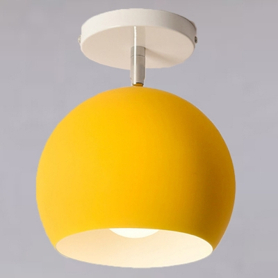 Dome LED Ceiling Light Kid's Metallic Semi Flush Mount Ceiling Lamp for Baby Room