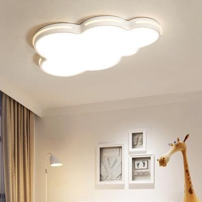 Kids Bedroom Simple Design LED Flushmount Light White Cloud Form Metal 1-Light Ceiling Fixture