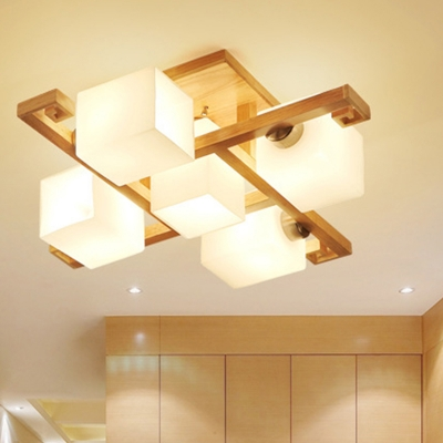 Wood Checkerboard LED Semi Ceiling Mount Light Villa 8.5 Inchs Height Asian Style Ceiling Fixture