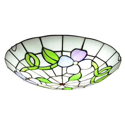 Stained Glass Flower and Leaf Ceiling Light Dining Room Tiffany Rustic Flush Light in Green