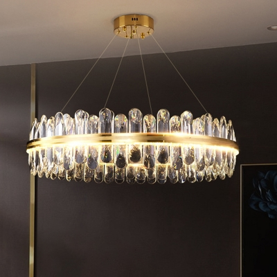 Clear Crystal Ceiling Chandelier Fixture Modern Brass Crystal Prism Pendant Lamp in 3 Colors
