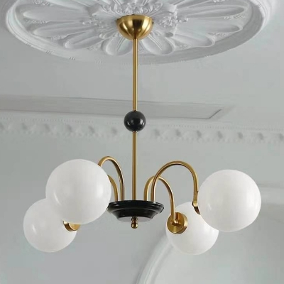 Swoop Arm Chandelier Postmodern Metal 28 Inchs Height Living Room Hanging Lamp with White Glass Shade
