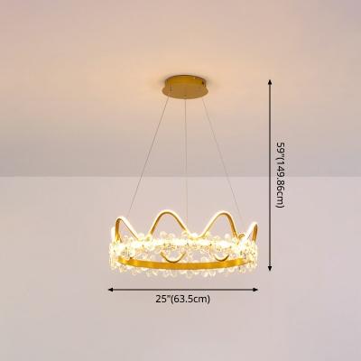 Modern Crown Pendant Lamp for Girl's Bedroom Hanging Light with Crystal Flower