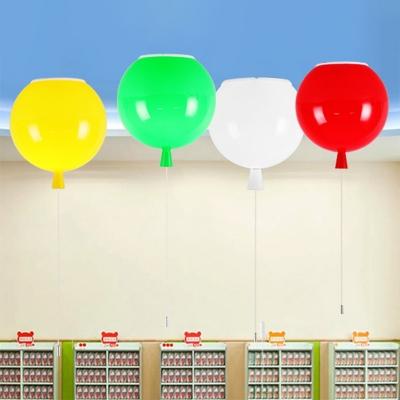 1-Light Ceiling Fixture Balloon Flush Mount Light with Plastic Shade for Nursery