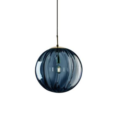 Mid-Century Oval Hanging Light Kit Glass 1-Light Restaurant Drop Pendant in Brass