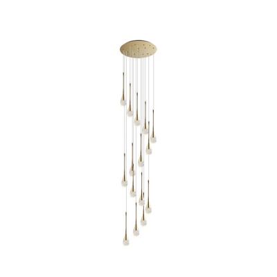 Stylish Modern Teardrop Pendant Lamp Clear Glass Loft House Multi Light Ceiling Light in Brass