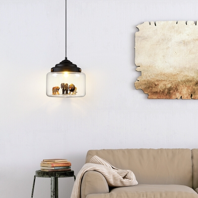 Canning Jar Clear Glass Pendant Kids 1 Head Suspended Lighting Fixture with Animal Statue