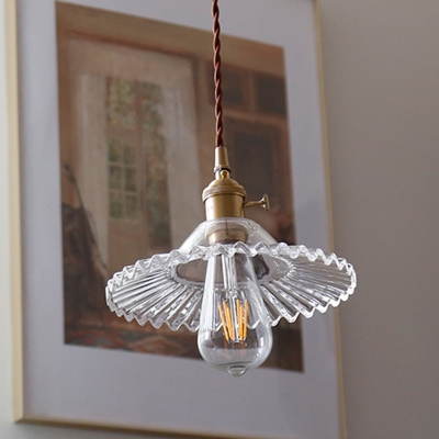Industrial Pendant Glass Shade with 1 Light Circle Metal Ceiling Mount Single Pendant for Living Room
