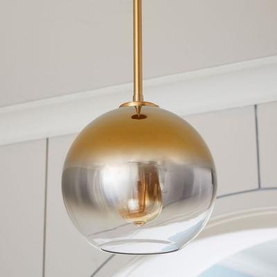 Mirror Glass Ball Shade Pendant Modern Kitchen Gold Detail 1-Head Hanging Lamp