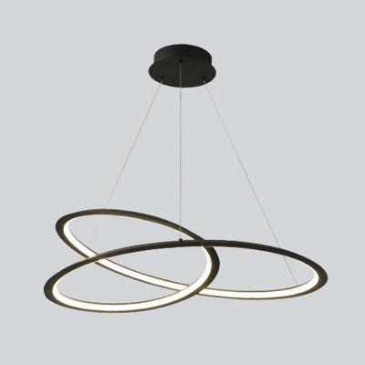Modern Dining Room Crossed Suspension Lighting Metal Linear LED 1-Light Chandelier