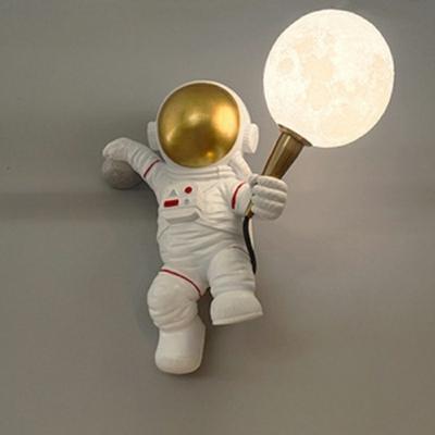 Child Bedroom Astronaut Wall Light 1 Light Resin Cartoon White LED Sconce Light