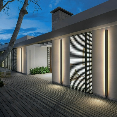 Outdoors Black Bar Shaped Flush Wall Sconce Simplicity LED Metal Wall Lighting in Warm Light