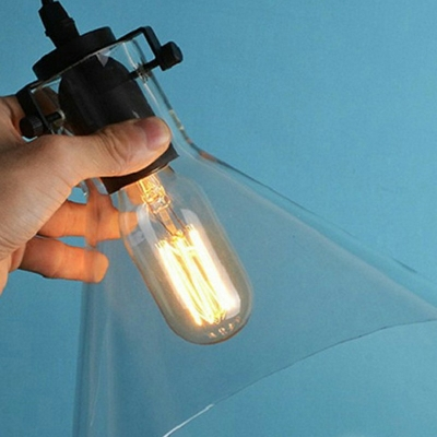 Clear Glass Cone Shade Ceiling Pendant Lamp Industrial Style 9.5 Inchs Wide Single Bulb Hanging Light for Corridor Aisle