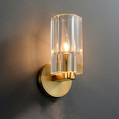 Brass Metal Backplate Mirror Front Lamp Modern Clear Crystal Rectangle 1-Head Wall Lamp