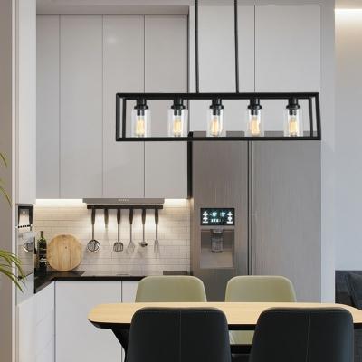 Black Metal Rectangle Shape Island Light 5 Lights Clear Glass Industrial Style Restaurant Island Pendant