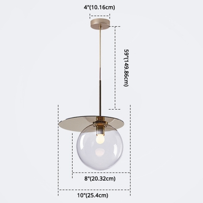 Modern Globe Shape Hanging Lighting Clear Glass 1-Head Coffee Shop Pendant Ceiling Lamp with Disc Top