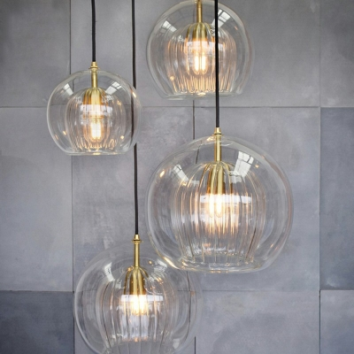 Ball Shaped Hanging Light Modern Simplicity Electroplated Lighting Fixture for Bedroom with Double Clear Glass Shade