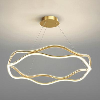 Round Hanging Light Fixture Modern Style LED Metal 2 Lights Chandelier Lighting for Dinning Room
