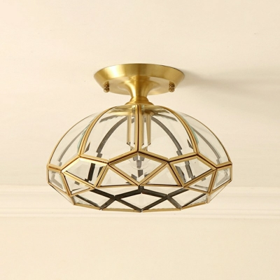 Kitchen Ceiling Lighting Antique Clear Glass Single Head Brass 12