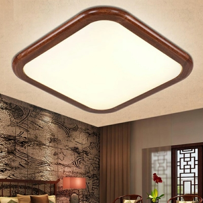 Brown LED Flush Mount Light Asian Style Wood Acrylic 3 Inchs Height Ceiling Lamp for Bedroom