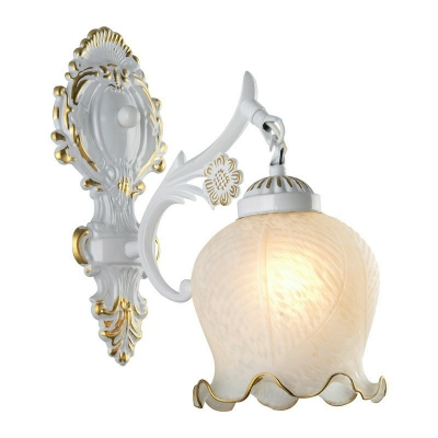 Colonial Style Metal Arm Mirror Front Lamp Flower White Glass Wall Lamp