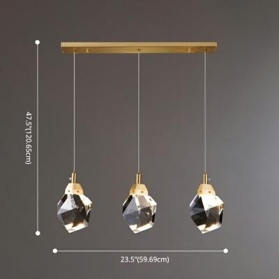 Modern Pendant Light  1-Light Ice Crystal Diamond Brass LED Pendant for Dining Room
