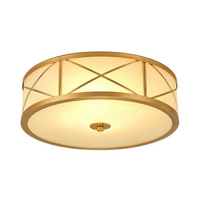 Brass Drum Ceiling Lamp Minimalist Frosted Glass 6 Inchs Height Living Room Flush Mount