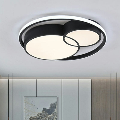 Contemporary Style Geometric  Shape Ceiling Lighting Black Acrylic Bedroom LED Ceiling Mounted Fixture