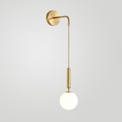 Modern Metal Wall Lighting 14 Inchs Height Sconce Ball Glass Shade Wall Lamp with Hanging Wire for Study Room