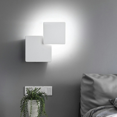 Ultrathin Square LED Wall Sconce Minimalist Metal Wall Mounted Lamp for Bedroom