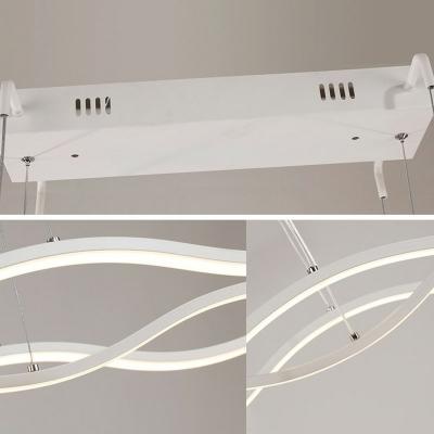 Wave Design Linear Island Light Modern Restaurant White Acrylic LED 5 Inchs Height Island Pendant