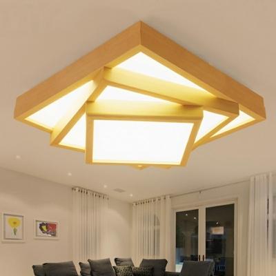 Wooden LED Flush Mount Light Asian Style Three Square Ceiling Lamp for Bedroom