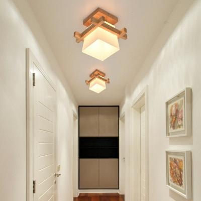Modern Solid Wood Milky White Glass Lampshade Semi-Ceiling Lamp Square Shape Flush Hallway Lighting