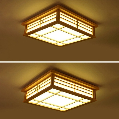 Square Study Room LED Flush Mount Light Wood Contemporary Ceiling Lamp with Fabric Shade