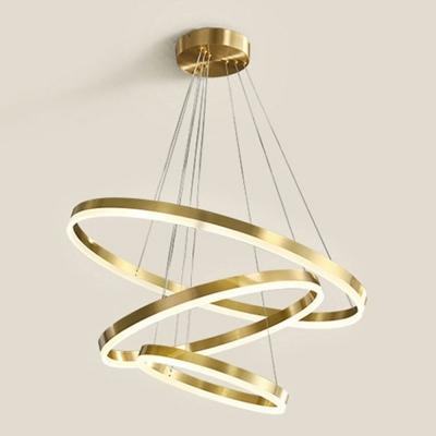 All Copper Living Room Chandelier Round Multi Layer Chandelier Pendant Light