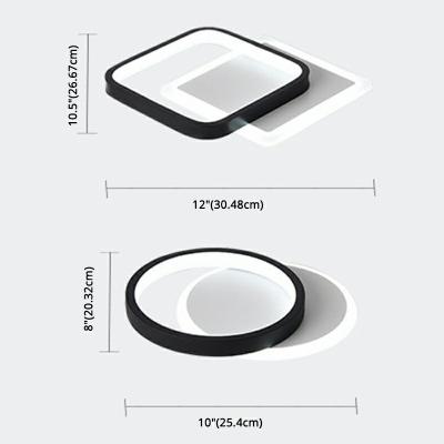 Simplicity Linear Design Semi-Flushmount Light Modern Geometric Black-White Arcylic LED Ceiling Light in Natural Light