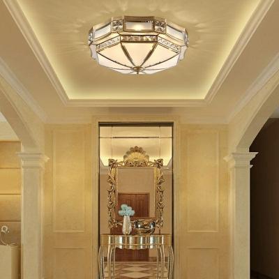 Brass Metal Frame Semi-Flushmount Light Colonial Style Inverted White Glass Ceiling Light