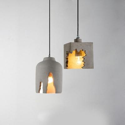 Geometric Pendant Lamp Cement Single Head Hanging Light in Grey for Children Room