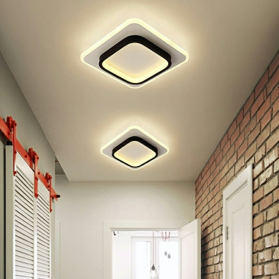 Simple Style LED Flush Mount Ceiling Lighting Fixture 2 Inchs Height Arcylic Flushmount Light in Black for Bedroom