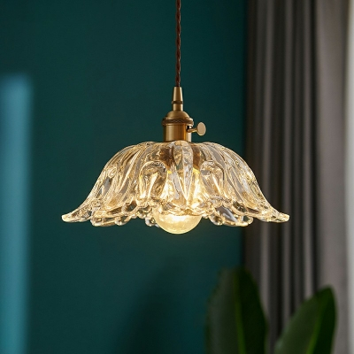 Vintage Hanging Light with Textured Glass Shade Single Light Pendant Lamp in Clear with 79 Inchs Height Adjustable Cord