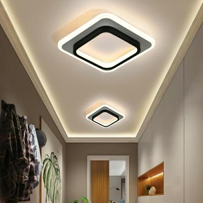 Simplicity Linear Design Semi-Flushmount Light Modern Geometric Arcylic LED Ceiling Light in Natural Light