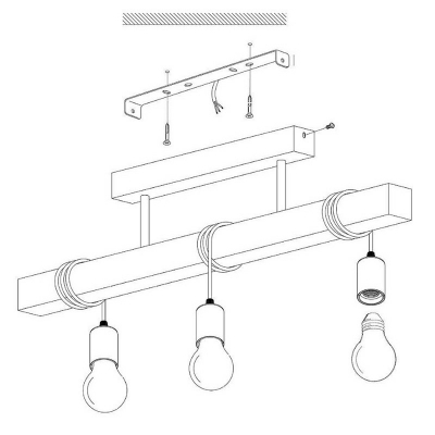 Wooden Linear Semi Flush Chandelier 21.5 Inchs Wide Cartoon 3 Bulbs Ceiling Light