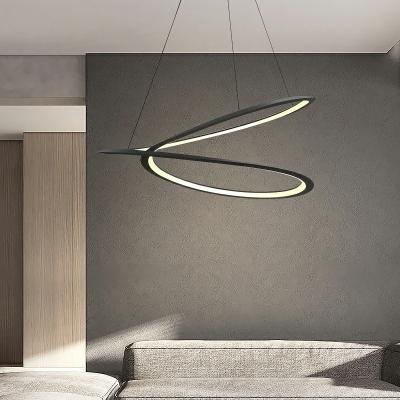 Black Aluminum Round Chandelier Line Design Pendant Lighting for Living Room