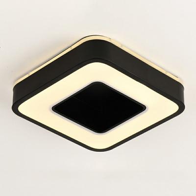 Minimalist Black/White Finish LED Close to Ceiling Light Acrylic Full Moon Flush Mounted Lamp Bedroom