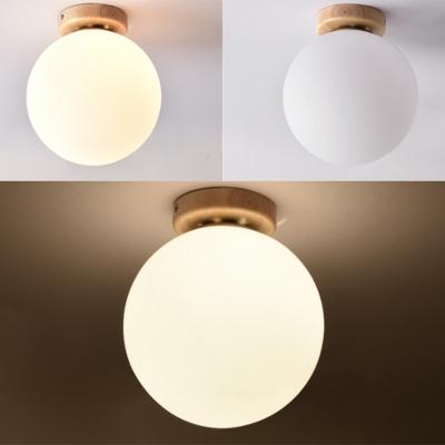 Single Light Minimalist Wall Sconce Glass Lampshade Wood Corridor Flush Ceiling Light for Indoor Room