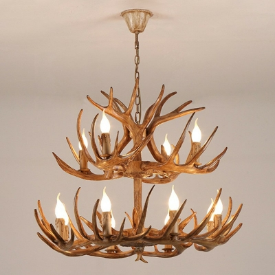 Traditional Pendant Chandelier Antler Living Room Hanging Pendant Lamp with Wrought Iron Hanger